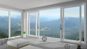 White wide sliding door in mountain chalet
